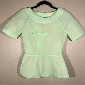H&M fitted green and nude blouse 4